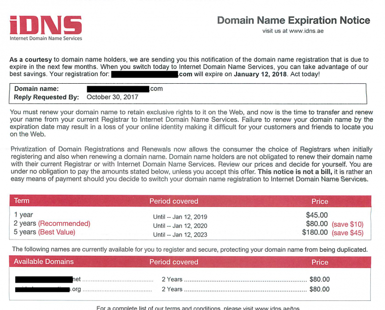 iDNS Domain Name Scam Letter