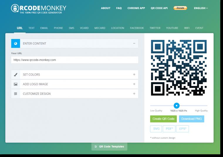 QRCode Monkey webiste