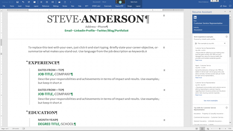 How To Use Linkedin Resume Assistant In Microsoft Word Steve Anderson