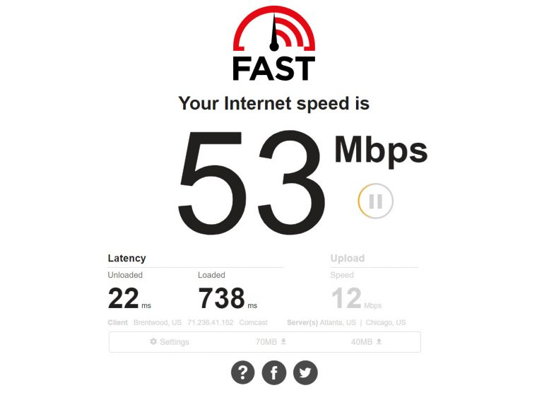 Netflix Fast.com Internet Speed test