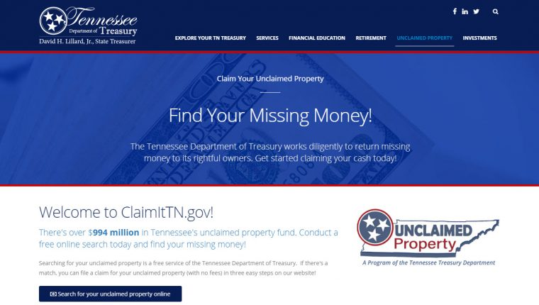 Tennessee Unclaimed Property Website