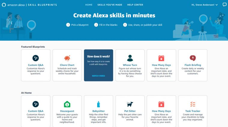 Alexa Skill Blueprint Landing Page