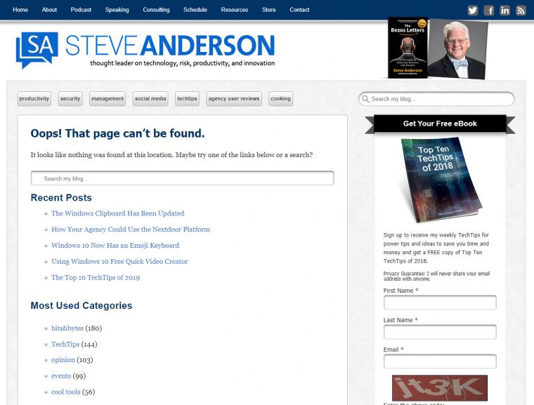 SteveAnderson.com Error 404 Page