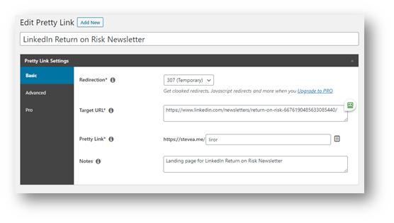 Pretty Links screenshot